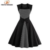 Women Summer Dress 2016 Plus Size Clothing Audrey Hepburn F Dot Robe Retro Swing Casual 50s