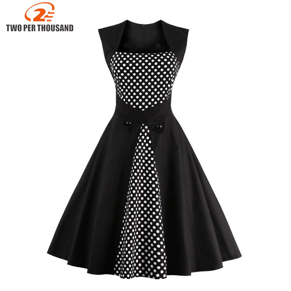 Women Summer Dress 2016 plus size clothing Audrey hepburn F Dot robe Retro Swing Casual 50s Vintage Rockabilly Dresses Vestidos
