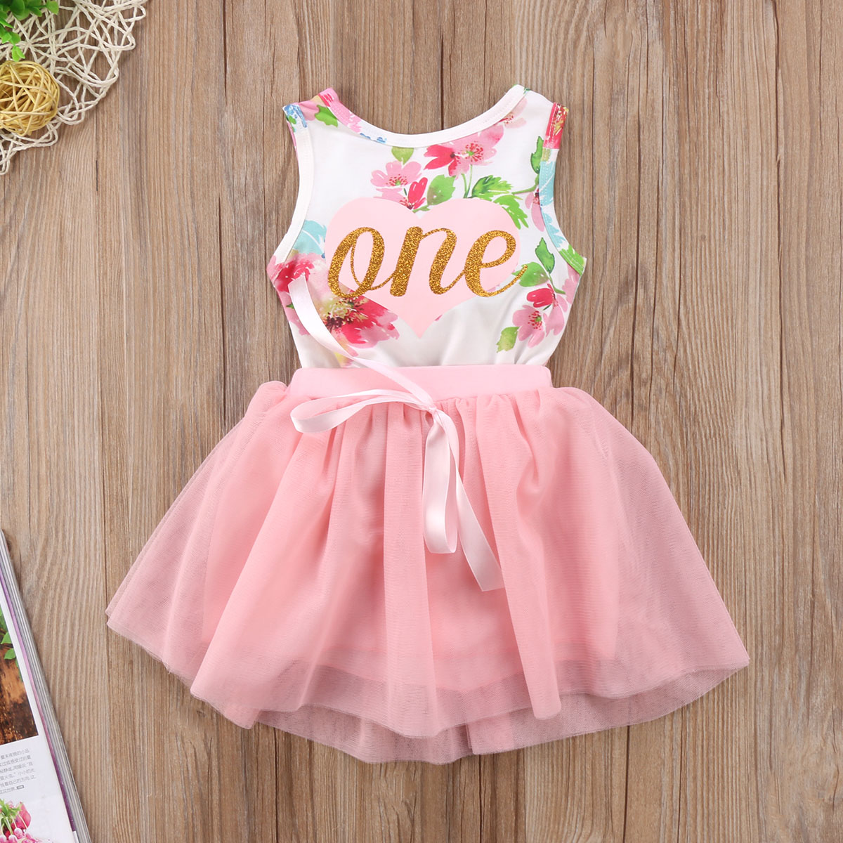 ONE Dress Newborn Baby Girls Clothes Floral Tops Romper Tulle Tutu Dress Outfits Set UK