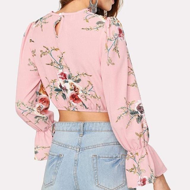 Long Sleeve Flower Printing O-Neck Blouse camisa femenina 1