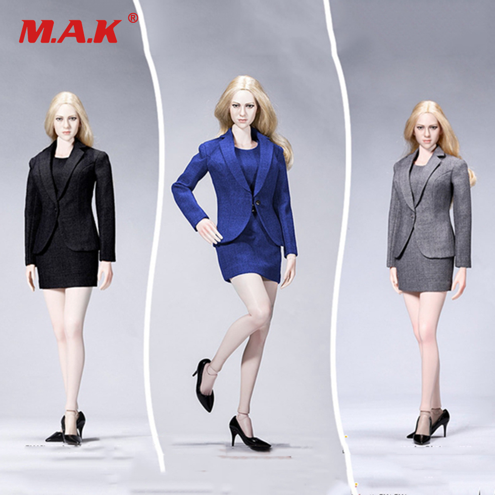 1:6 Scale ACPLAY ATX029 Office Gril Female Suit set &OL Dress Set Gray black blue Color for 12 inches PH action firgure body игрушка ecx ruckus gray blue ecx00013t1
