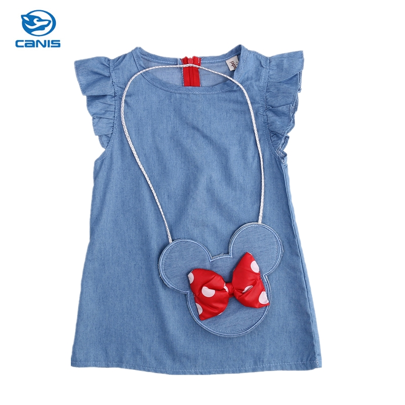 Kids Baby Girl Dress Minnie Mouse Bag +Demin Flying Sleeves Dress Gown Party Dress Sleeveless Clothes music note party swing dress
