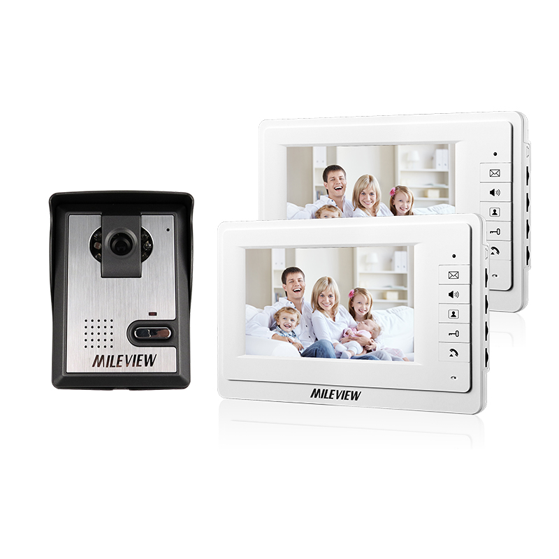 FREE SHIPPING New 7 Color Video Intercom Door Phone System 2 White Monitor + 1 Night vision Doorbell Camera In Stock Wholesale free shipping new handheld 4 3 inch color tft video door phone doorbell intercom night vision door bell camera 3 screen in stock