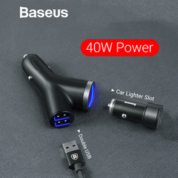 Baseus 3 in 1 Car Charger for iPhone Mobile Phone Charger Dual USB + Cigarette Lighter for 3 Devices 3.4A Fast Car Phone Charger