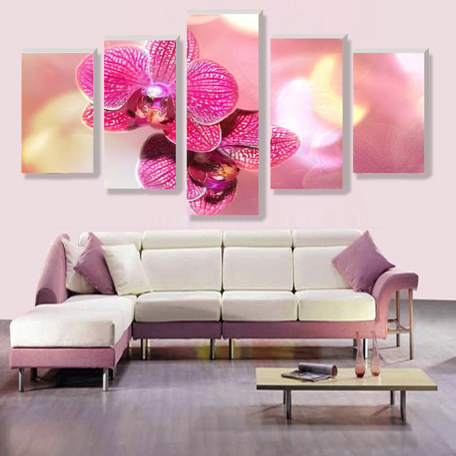 5 Panels Pink Orchid Flower Canvas Prints for Living Room Wall Art ...
