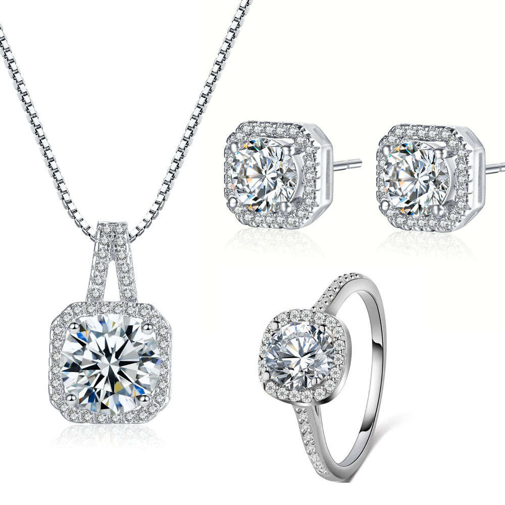 06d50c0cd1 Fashion Necklace Earrings Ring Big Square crystal wedding jewelry set for  women