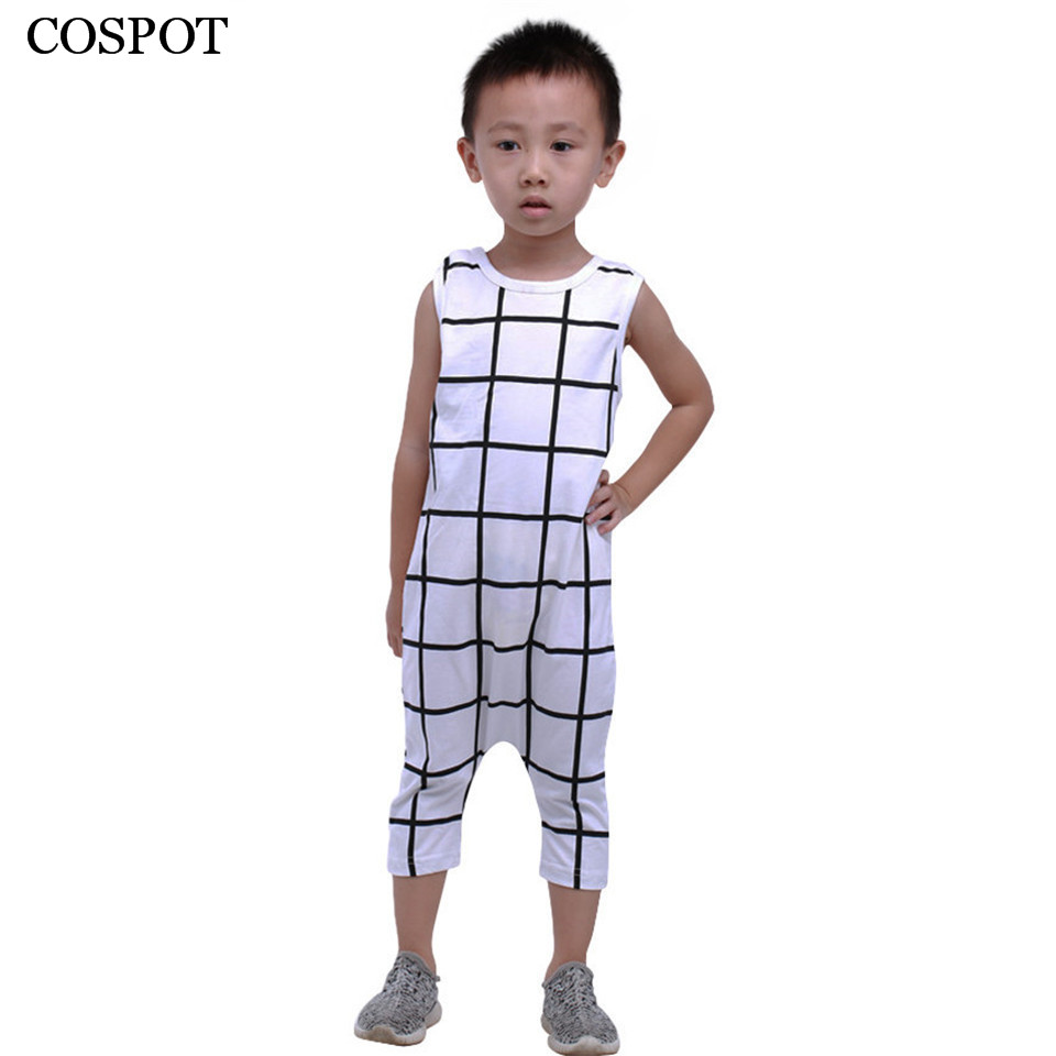 COSPOT Newborns Summer Rompers Baby Boys Plaid Jumpsuit Kids Cotton Pajamas Cute Short Romper for Newborn 2017 New Arrival 55C newborn baby rompers baby clothing 100% cotton infant jumpsuit ropa bebe long sleeve girl boys rompers costumes baby romper
