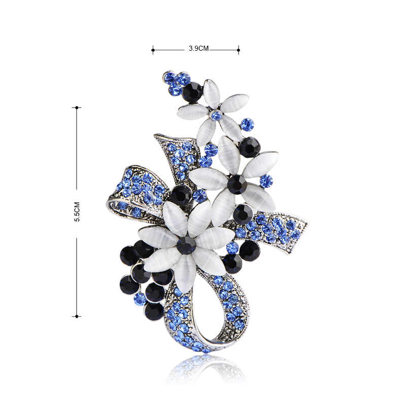 5fab6b351 ... Blucome Vintage Turkish Brooches Flower Bowknot Brooch For Women Scarf  Simulated Opals Antique Silver Color Hijab ...