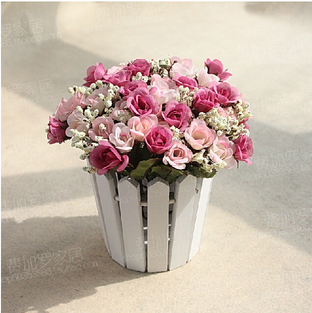 2014 New Rose Artificial Flower With Wood Vase Christmas Hanging Wedding Decorative Flowers Home Decoration Pots