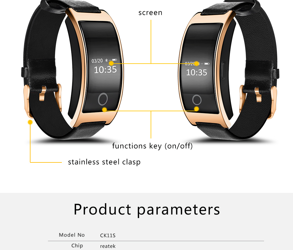 CK11S Wristband Blood Pressure Watch Blood Oxygen Heart Rate Monitor Pedometer IP67 Waterproof marigold 17