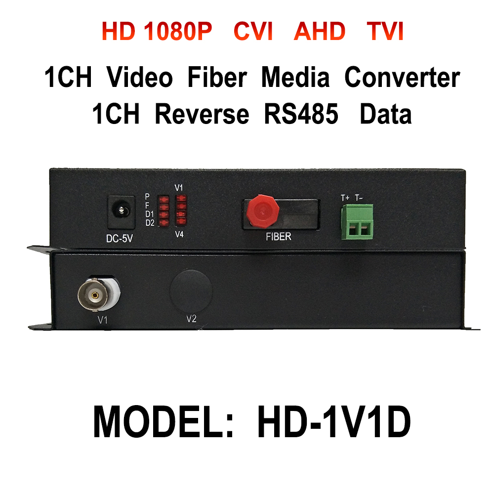 2MP 1080P 1 Ch HD CVI AHD TVI Video RS485 Data Fiber optical Media Converter Extender 20KM For 1080p TVI CVI Coaxial CCTV Camera rs232 to rs485 converter with optical isolation passive interface protection