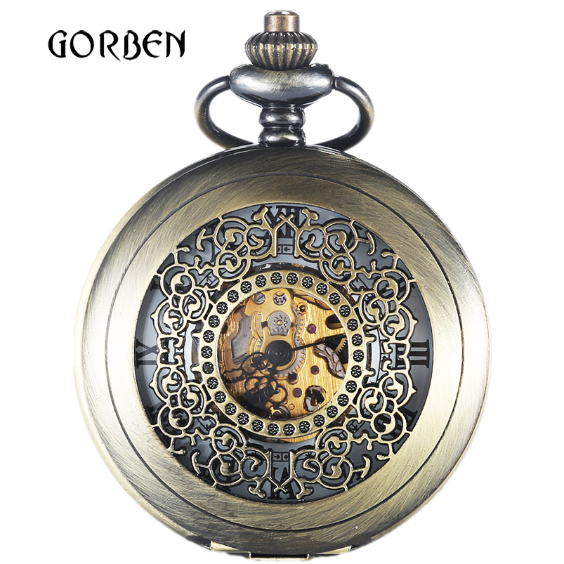 Retro Hollow Steampunk Mechanical Pocket Watches 2 Sides Case Skeleton Vintage Pocket fob Watch Chain for men Relogio De Bolso