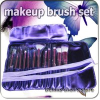 Professional 12 Pcs Make Up Cosmetic Brush Set Makeup Brushes With Purple Holder Bag Free Shipping