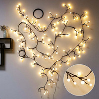 2.5M 72LED Branch Bendable Rattan String Fairy Light 8Mode Christmas Garland For New Year Xmas Indoor Outdoor Home Decoration