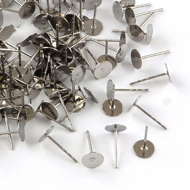 316 Stainless Steel Flat Round Blank Peg EarStud Components, Stainless Steel Color, Tray: 4mm; 12x4mm, Pin: 0.8mm