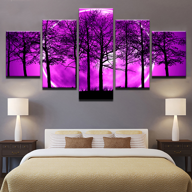 c9925b9ce15 Canvas Art Poster Print Painting HD Wall Framework 5 Pieces Purple Moon  Night Psychedelic Forest Picture For Living Room Decor