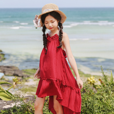 22161b01a293 Summer Dresses for Little Girl Solid Red Yellow Beach Dress Girls ...