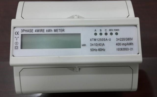 US $29 33 11% OFF|30(100)A three phase din rail energy meter 220V/230V 50HZ  monitor LCD display din rail kwh meter watt hour meters-in Current Meters