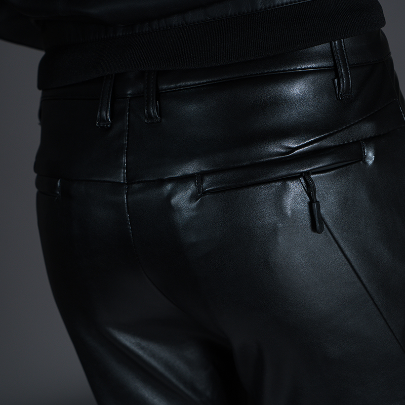New Winter Spring Men's Skinny Leather Pants Fashion Faux Leather Trousers For Male Trouser Stage Club Wear Biker Pants 26