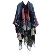2016 Winter Style Women Lady Scarves Luxury Warm Print Stripes Stole Pashmina Scarves Shawl Thick Women