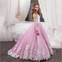 2018 New Flower Girl Dress Long Sleeves O Neck Girls Pageant Gowns Holy Lace Communion Dresses