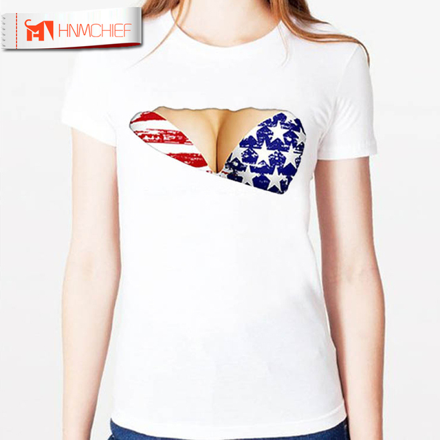 Sexy Holes O-neck T Shirt Women Patriotic T-Shirt 2017 Summer Casual Short  Sleeve Ripped Shirt USA Flag Print Sides Split Tops bab97eb576