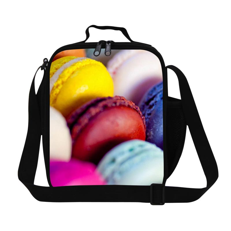 Dispalang Insulated Kids Lunch Bags Waterproof Leakproof Pouch Fruit Food Storage Macaron Pattern 3D Print Bento Box Picnic Bag