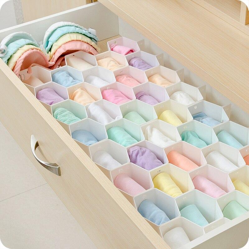 Honeycomb partition storage box drawer underwear storage lattice desktop plastic socks underwear compartment organizing boxes