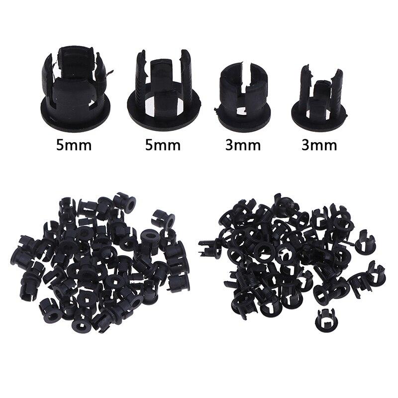 50pcs LED Diode Holder Black Plastic 3mm 5mm Lamp Black Clip Bezel Socket Mount Useful Professional