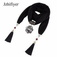 Jzhifiyer Jersey Pendant Foulard Jewelry Necklace Scarf Shawl Linen Fringe Plain Bandana Jewellery Scarf Fashion Women
