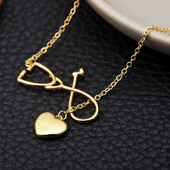 New Love Heart Shape Necklaces for Women Medical Stethoscope Y Chain Gold/Silver Neckalce Fashion Jewelry Dropshipping Bijoux