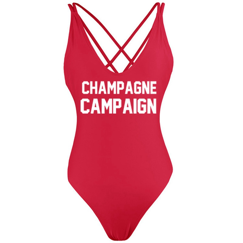 CHAMPAGNE CAMPAIGN Backless Thong 2018 Sexy Women One Piece Swimsuit Bathing Suits Fused Swimwear Bather Beach Monokini Bodysuit