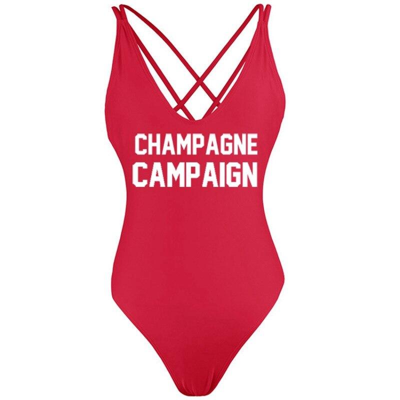 Campaña de champán Backless Tanga 2018 Sexy mujeres baño de una pieza trajes de baño fundido bañista playa Monokini