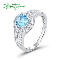 Nhẫn bạc cho Woman Engagement Wedding Ring Vòng Sky Blue White CZ Nhẫn Nguyên Chất 925 Sterling Bạc Trang Sức Thời Trang