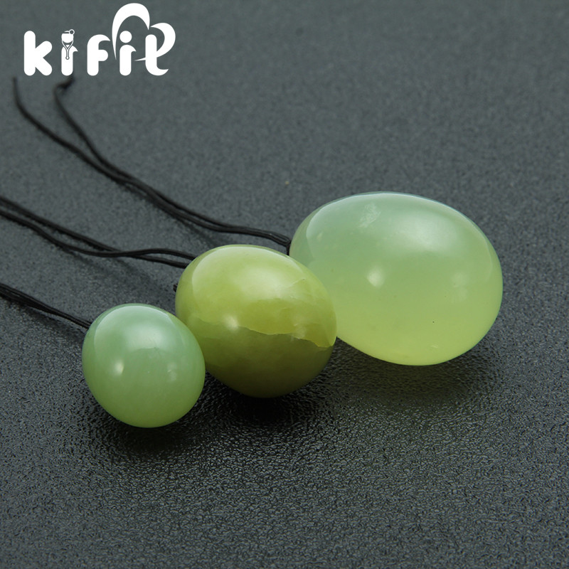 KIFIT 3pcs/set natural chinese xiu yan jade eggs With Rope Yoni Egg Massager Ball for Exercise Ball Health Care Massage Tool natural green xiu yan stone facial slimming massager roller therapy health skin beauty tool