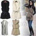 Women Hoodie Long Vest Sleeveless Jacket Faux Lamb Fur Coat Waistcoat Outerwear-J117