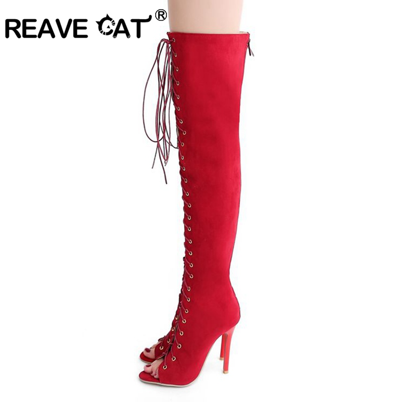 REAVE CAT Plus size 32 43 New sexy Knee high gladiator sandals High heels Lace up