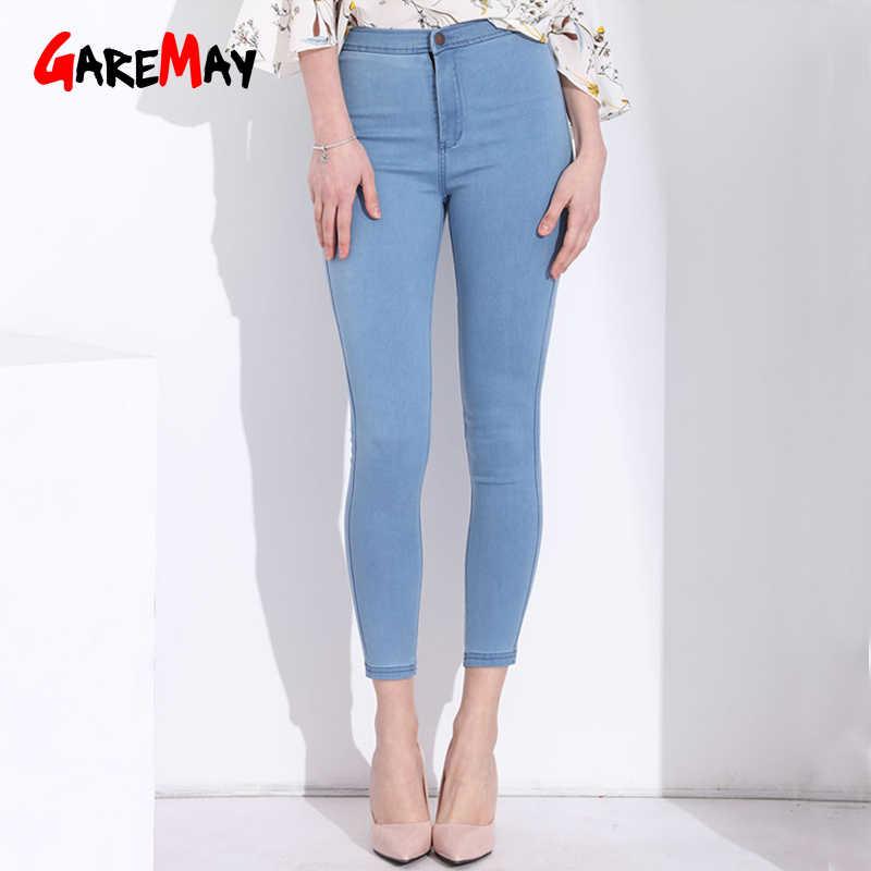 Garemay Pantalones Vaqueros Ajustados Con Cintura Alta Para Mujer Vaqueros Elasticos De Colores Colored Skinny Jeans Jeans With High Waistskinny Jeans Woman Aliexpress
