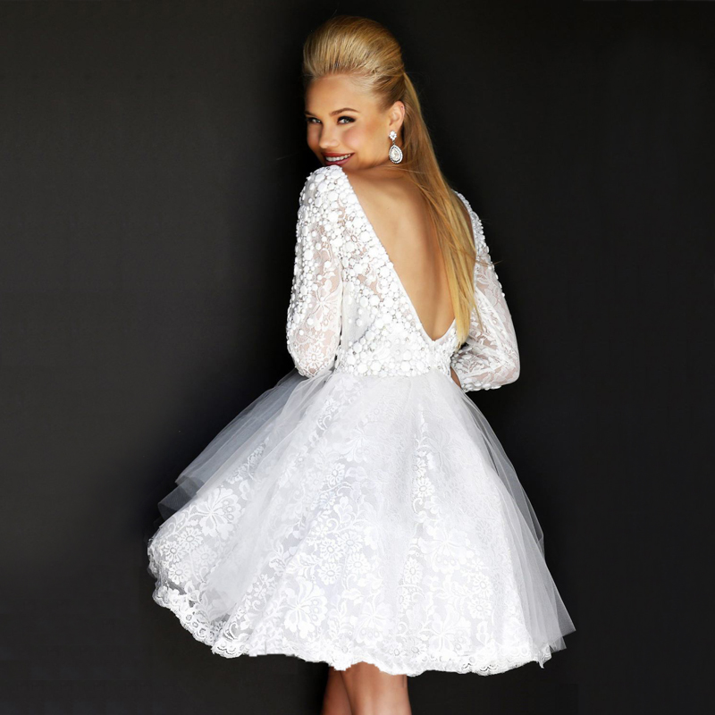 Red And White Wedding Dresses With Sleeves: Fashionable New Lace Short Wedding Dress 2015 Long Sleeve