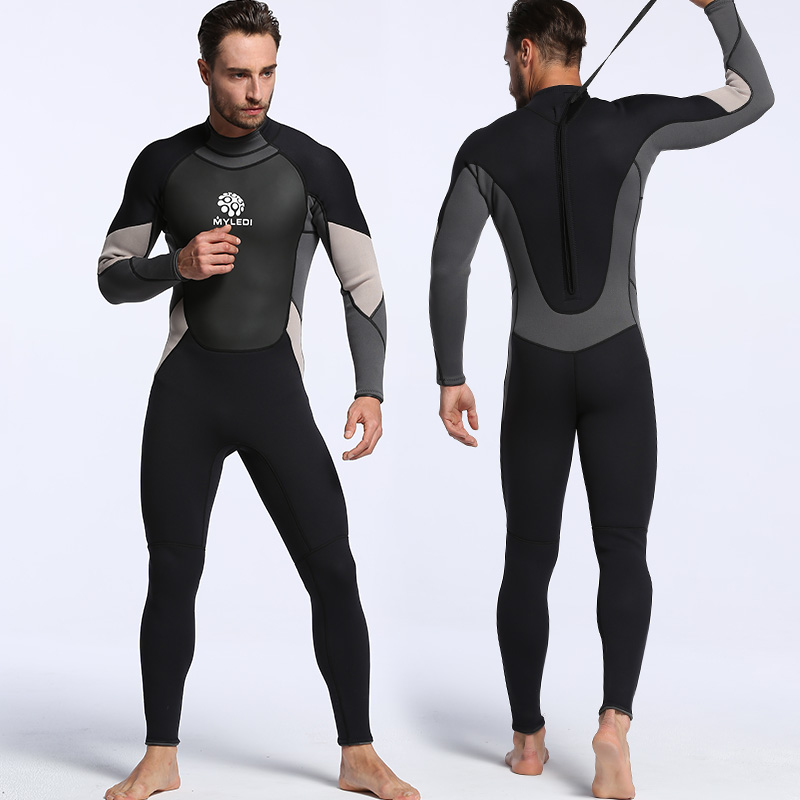 Men neoprene 3mm one-piece diving suit surf suit waterproof warm wet clothes size S-XXL black and grey diving clothes 3mm outdoor sports chloroprene rubber black continuous diving suit surf clothes for warm swimsuit diving suit men