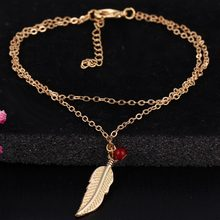 Silver plated chain barefoot sandals jewelry Silver metal leaves feathers red crystal pendant leg chain & anklets for women(China)