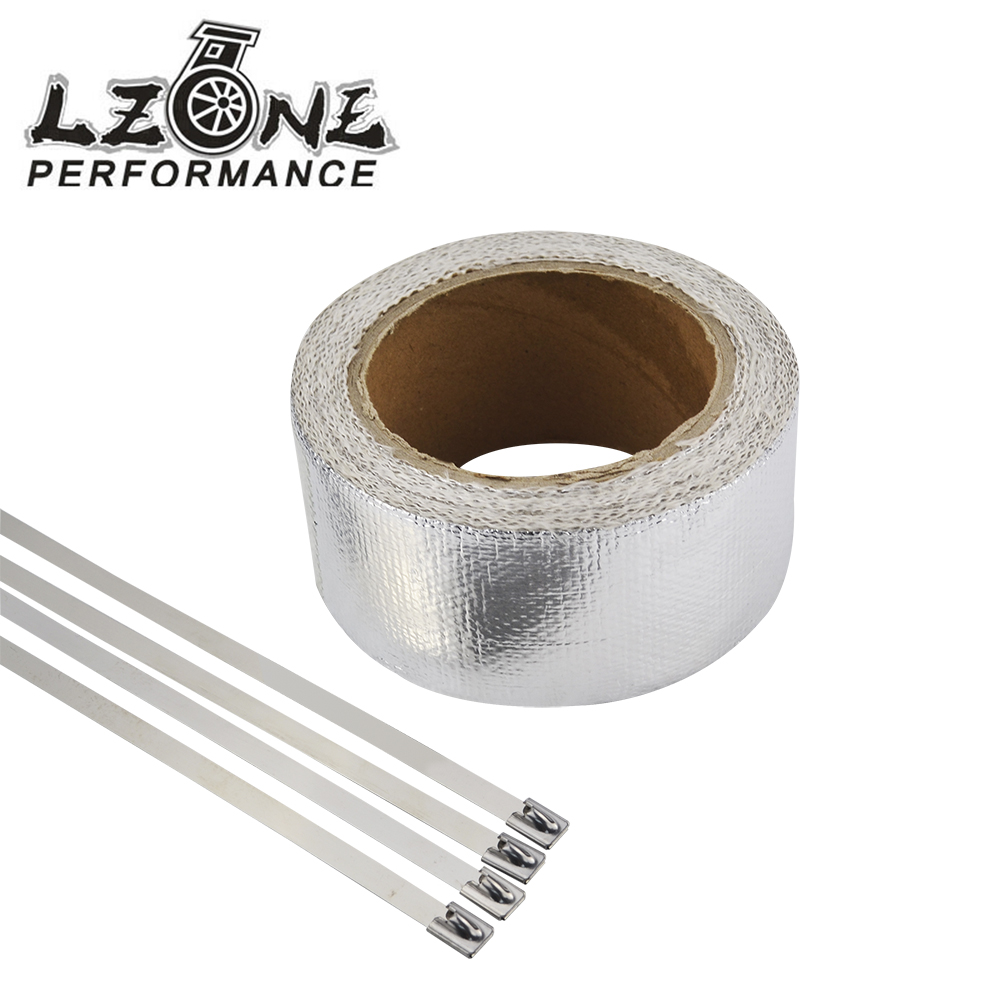 LZONE RACING - Car Aluminum Reinforced Tape Heat Shield Resistant Wrap For All Intake pipe / Suction Kit WITH 4PCS TIES JR1611