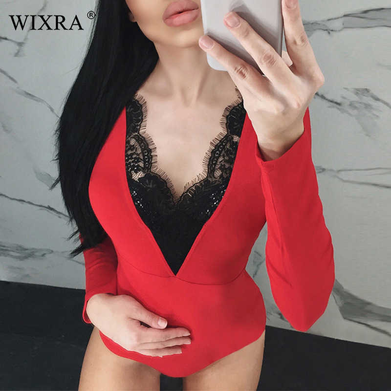 574ad9ab5e Wixra 2019 Women s Clothing New Hot Long Sleeve Bodysuits Trendy Sexy V  Neck With Lace Playsuits