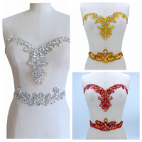 Silver/royalblue /red/golden Hand made crystals trim patches sew on Rhinestones sequins applique on mesh 32*20cm & 30*8cm