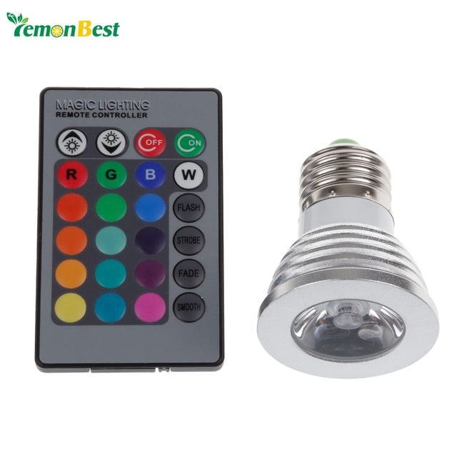4W E27 RGB LED Bulb 16 Color Change Lamp spotlight 110-245v for Home Party decoration with IR Remote