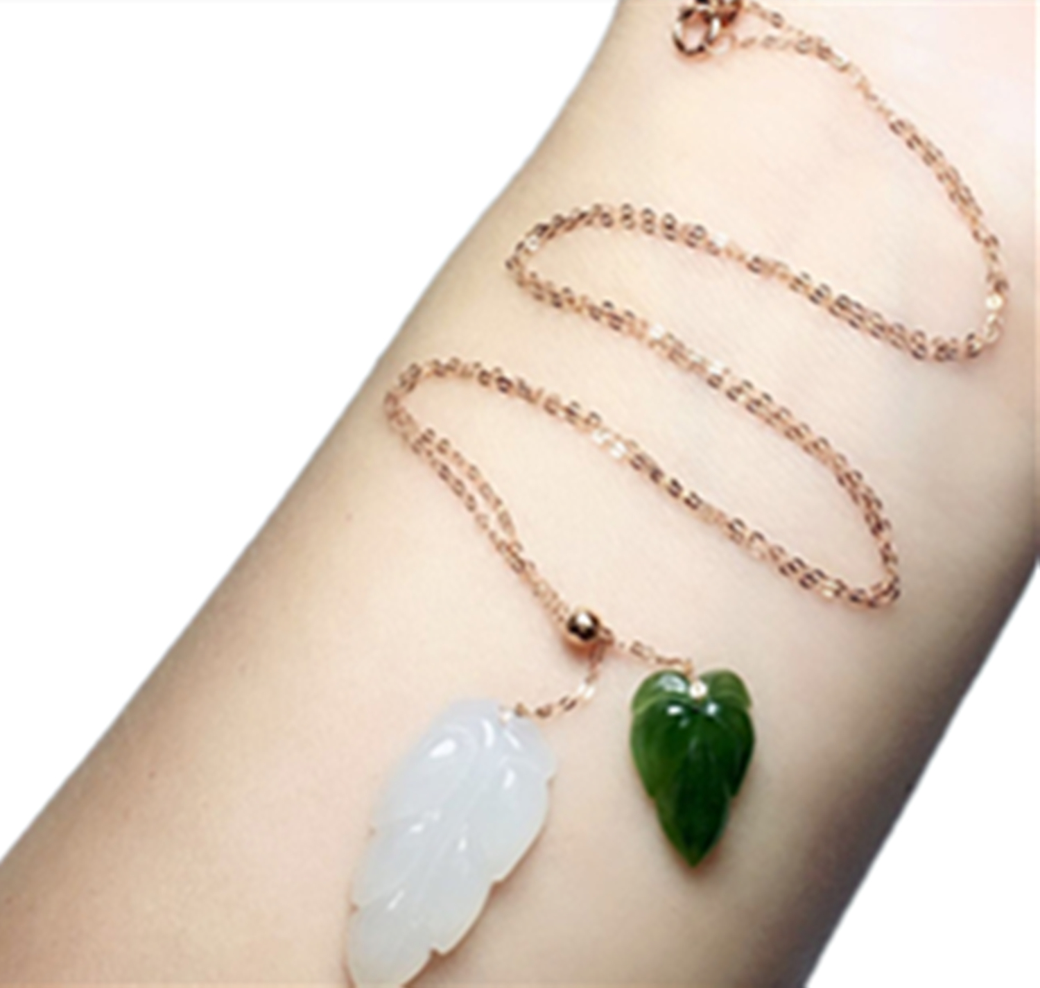 New 18K gold inlaid natural Hetian white jade leaf pendant necklace with certificateNew 18K gold inlaid natural Hetian white jade leaf pendant necklace with certificate
