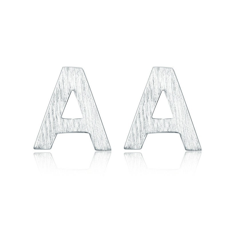 Letter A Silver Stud Earrings for Women 925 Sterling Silver Alphabet Earings Fashion Silver 925 Jewelry Orecchini SCE629 in Earrings from Jewelry Accessories