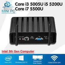 В наличии! Intel Core Мини-ПК компьютер i3 5005U i7 5500U Окна 10 безвентиляторный мини настольных i5 5200U Barebone HTPC HD Графика 5500