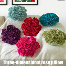 2019 Fashion 3D Rose Cushion Filler Included Decoration Decorative Soft Gift for Car Office Home Hot Sale(China)