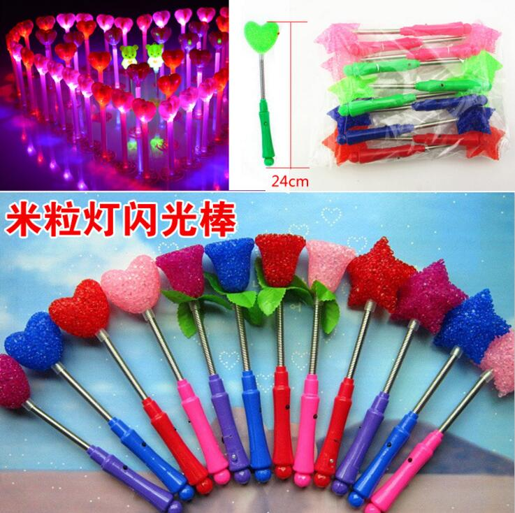 Led glow star wand mixed rose heart shaped stick flashing for Led wands wholesale